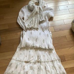 Anokhi white gold skirt set